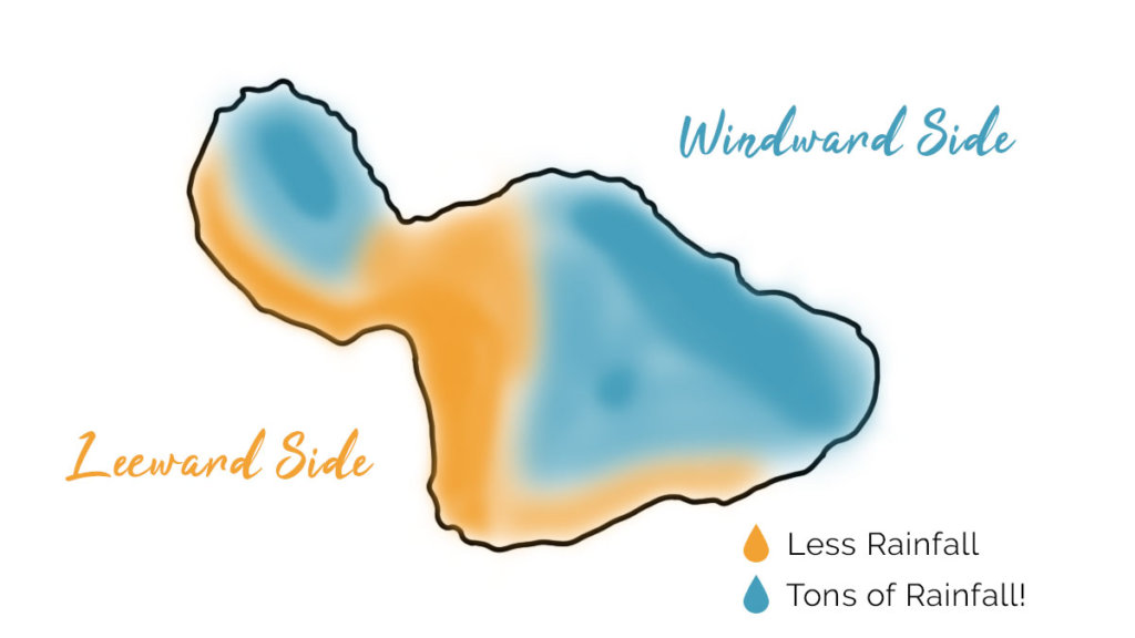 Color-coded Maui Rainfall Map: Windward side and Leeward side