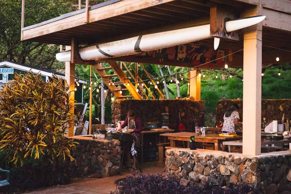 Outdoor kitchen at WWOOF Maui farm: Lahaina Family Farms