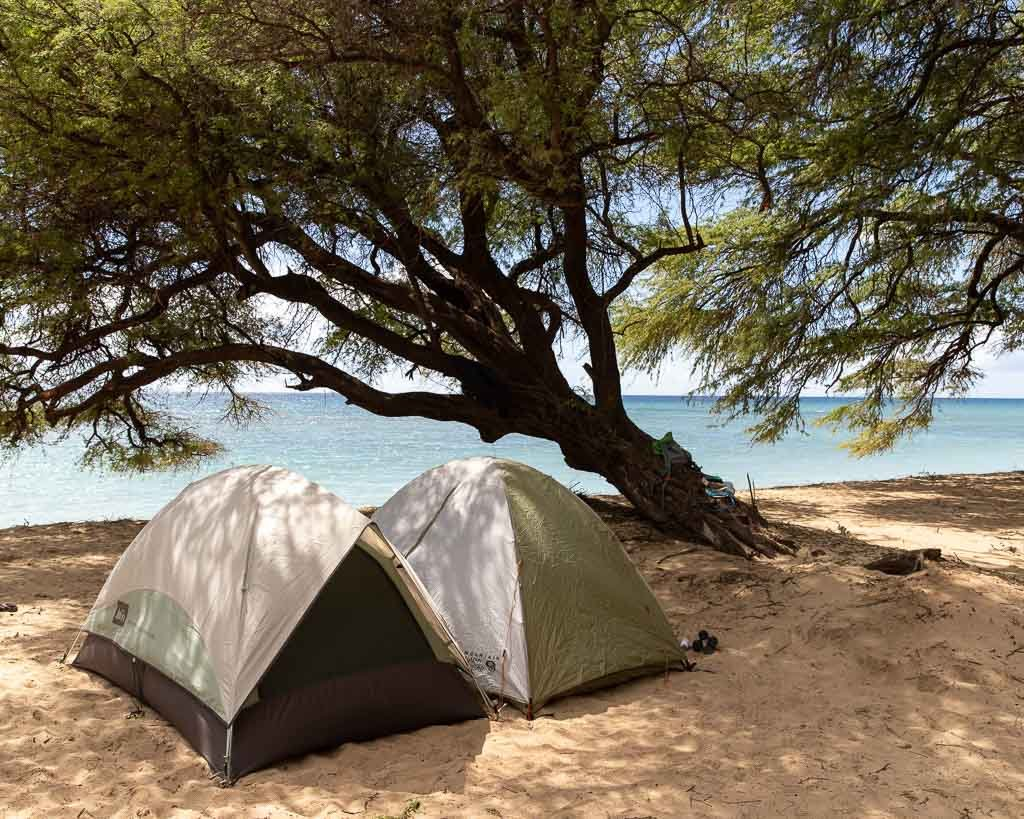 Camping on the beach on Maui, Hawaii
