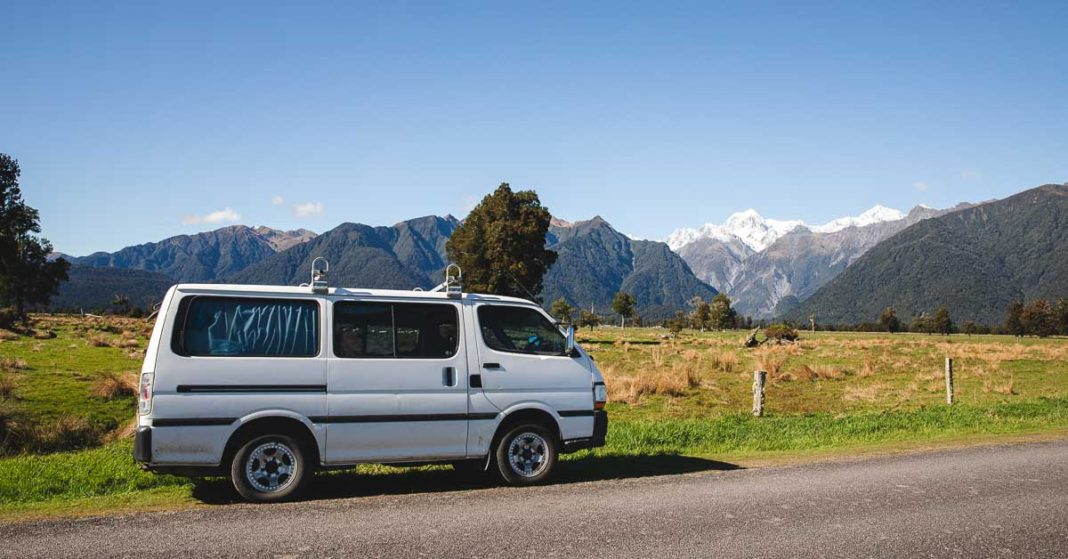 Camper van and Southern Alps