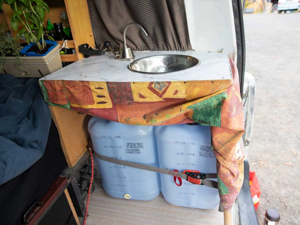 fresh and grey water tanks in self contained van