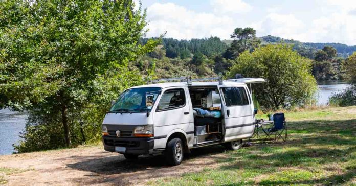 Self contained van at Little Waipa